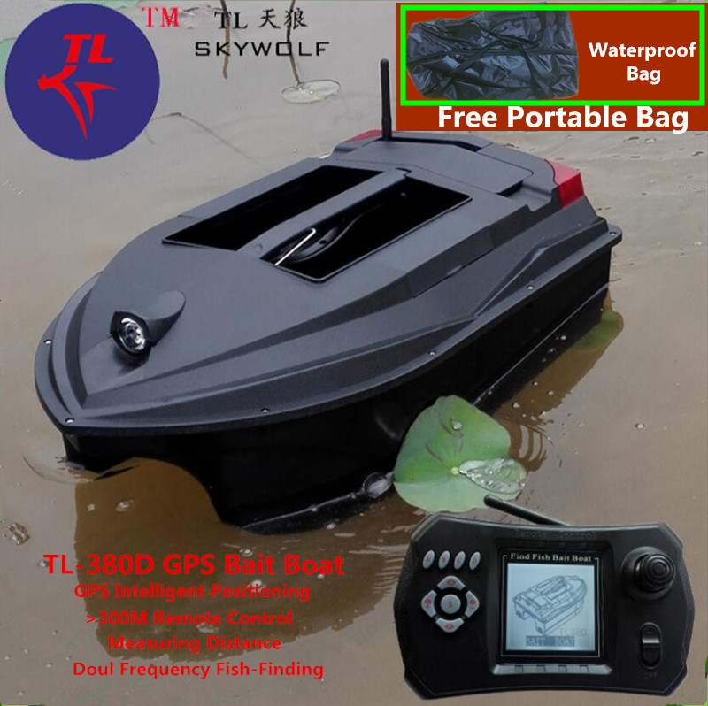Livraison Sac GPS Position Intelligent télécommande RC bateau d'appâtage TL-380D Double Appât Cloche Sans Fil Sonar détecteur de poisson Fix Up De Pêche Net