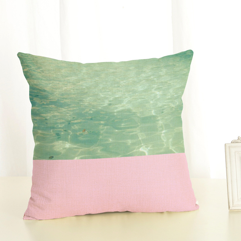 1 Piece Chic Seaside Scenery Painting Pillow Case Cover Square 45cm Cotton Pillowcase Home Decorative Customized Dropshipping in Pillow Case from Home Garden