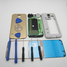 Original Battery Back Cover Outer glass Front Middle Bezel Frame Part Full Replacement Housing for Samsung