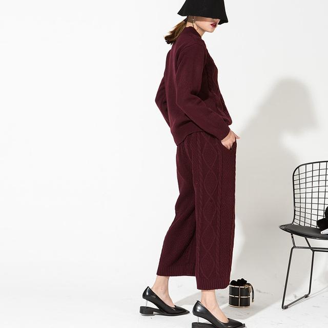 [Soonyour] 2017 nova moda primavera em torno do pescoço camisola da malha calças terno espessamento pedaço cor sólida atacado vinho tinto terno ds0383