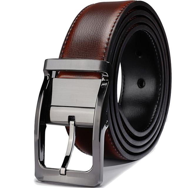 Hombres cinturón de cuero Reversible ajustable y cinturones para hombre con rotación hebilla cinturones para hombres grande y alto.