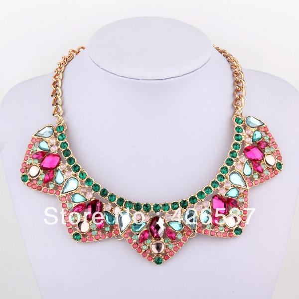 colorful trigonal  multi color gold filled chunky choker statement collar bib necklace 2013 fashion brand jewelry