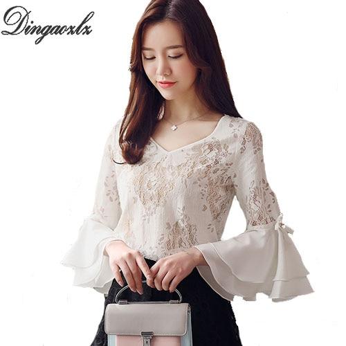 Dingaozlz 2018 Spring lotus sleeves Slim chiffon blouse elegant female bow stitching lace tops fashion casual women lace shirt