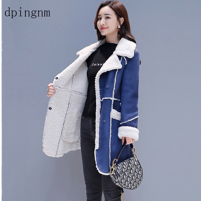 Casual Thick Cotton Women's Winter Faux Lambs Wool Coat 2019 Fashion Flannel Woman Warm wool blends long Coats
