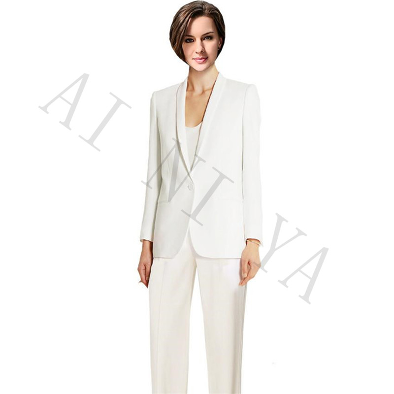 Jacket+Pants Women Business Suits Ivory Single Breasted Female Office Uniform Evening Wedding Formal Ladies Trousers Suits