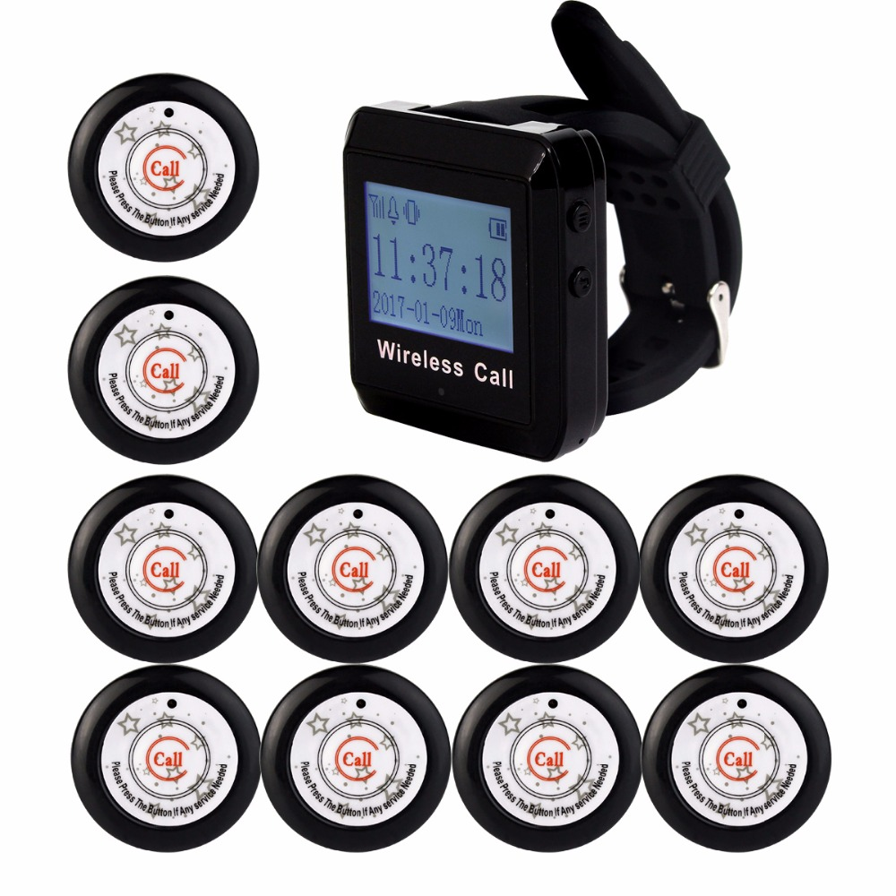 10pcs Transmitter Button+1pcs Watch Receiver 433MHz Restaurant Pager Wireless Calling System Restaurant Equipment F3291E 2 receivers 60 buzzers wireless restaurant buzzer caller table call calling button waiter pager system