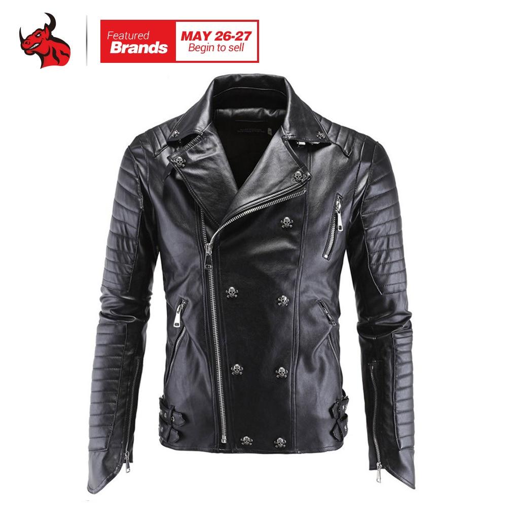 Motorcycle Jacket Fashion PU Moto Leather Jackets Mens Faux Jacket Slim Fit Coats Moto Skull Jacket Coats Black faux leather moto jacket with buckle belt