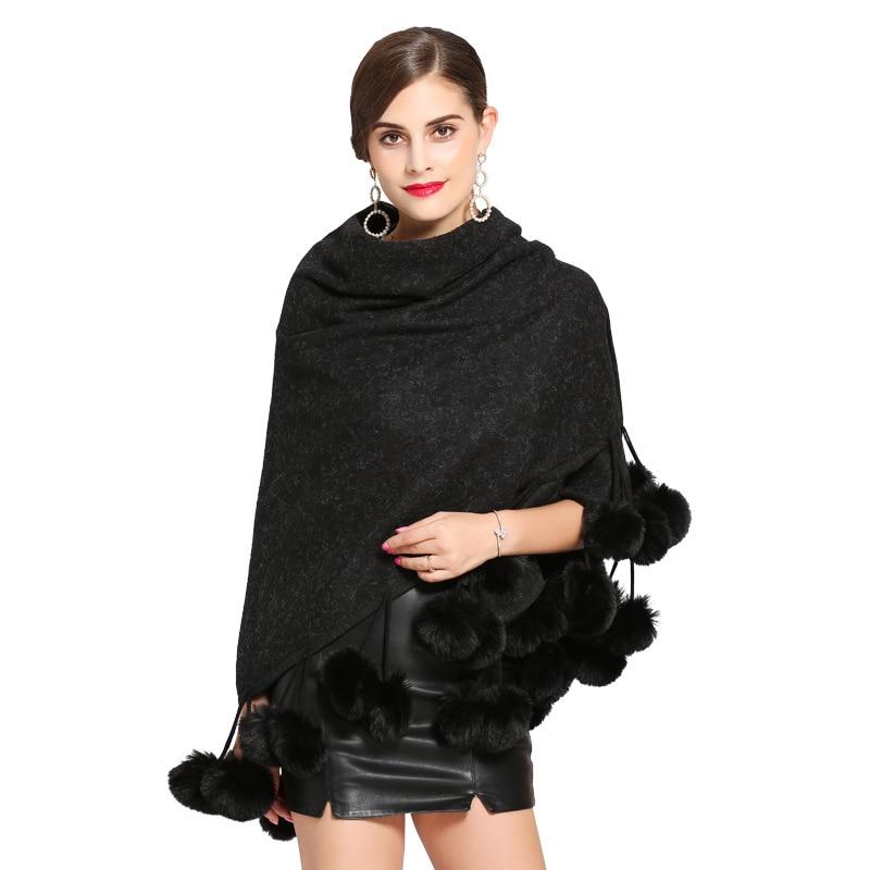 Poncho Ponchos Black Prendas Piel Moda Invierno Mujer Capes Bola La De Otoño Exteriores Y Vestir Rebeca Elegante Felpa Mujeres Suave 2018 Abrigo gray 1zgqEz4