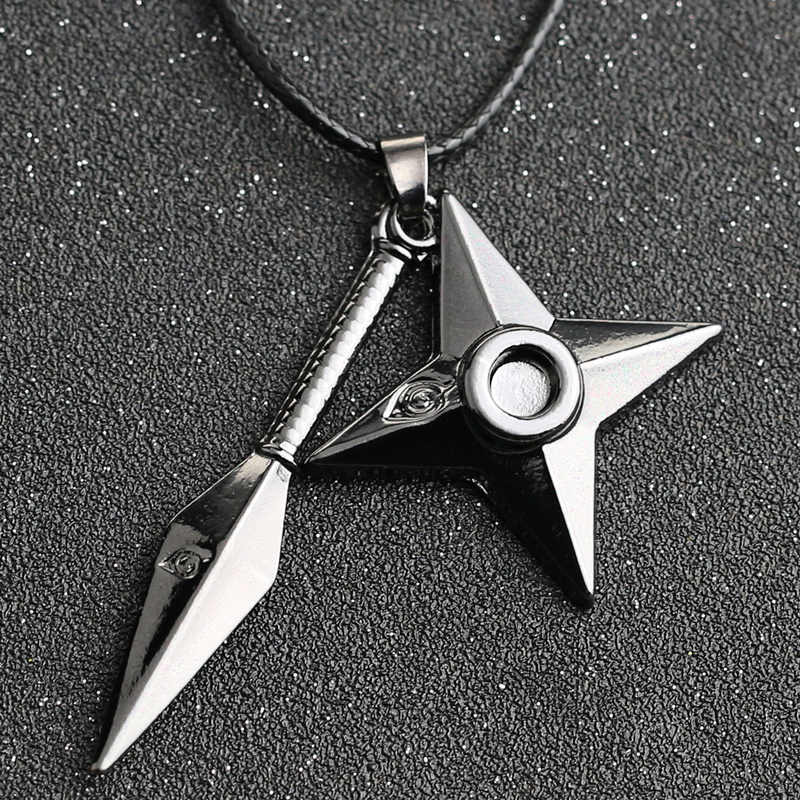 NARUTO Necklace Kunai Shuriken Dart Weapon Konoha Logo Uzumaki Naruto Pendant Leather Rope Ninja Cosplay Anime Jewelry Wholesale