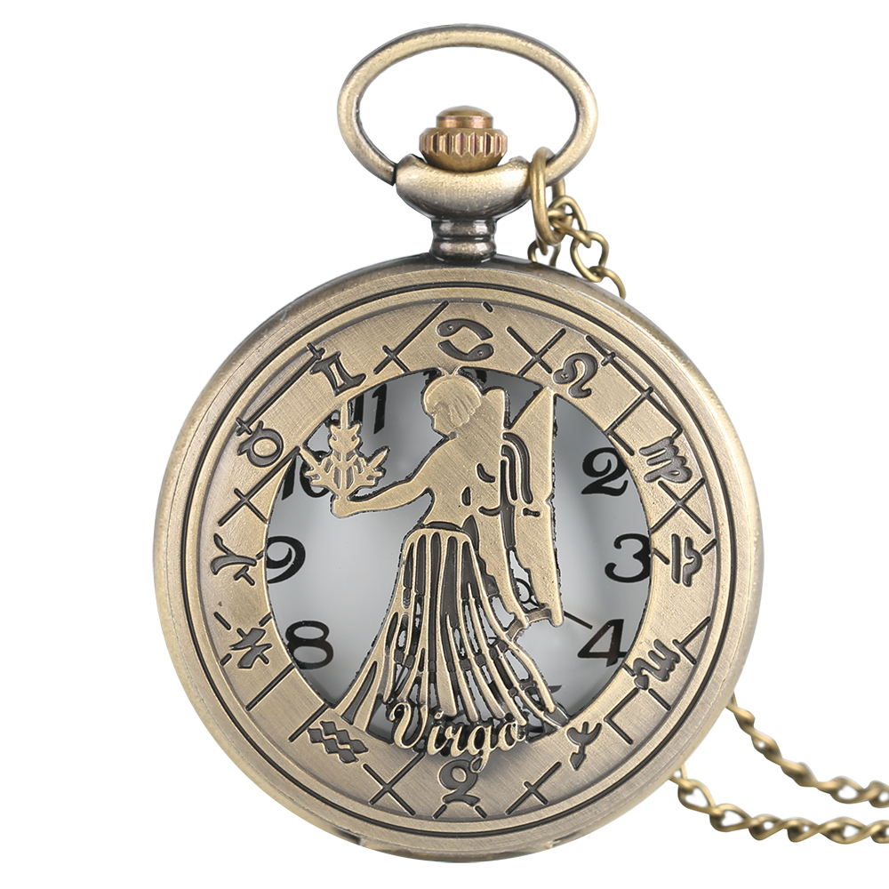 Virgo Necklace Zodiac Sign Vintage Quartz Pocket Watches Astrology Pendant Birthday For August And September Gift Men Women Baby