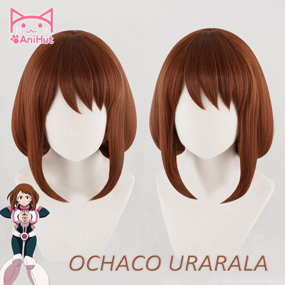 Anihut Academia Cosplay Short Boku Anime No-Hero Ochako Uraraka Wig Synthetic