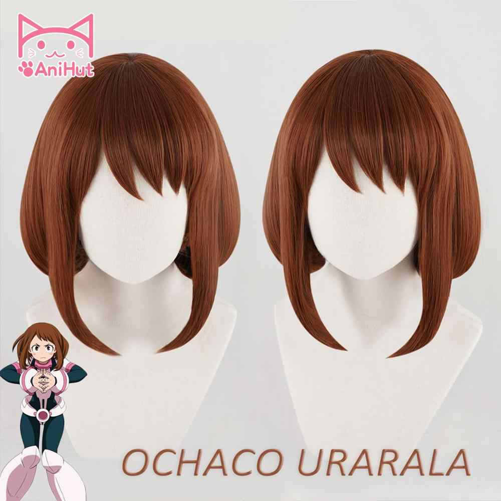 AniHut Ochako Uraraka Wig Boku No Hero Academia Cosplay Wig Synthetic Red Short Anime My Hero Academia Cosplay Ochaco Uraraka
