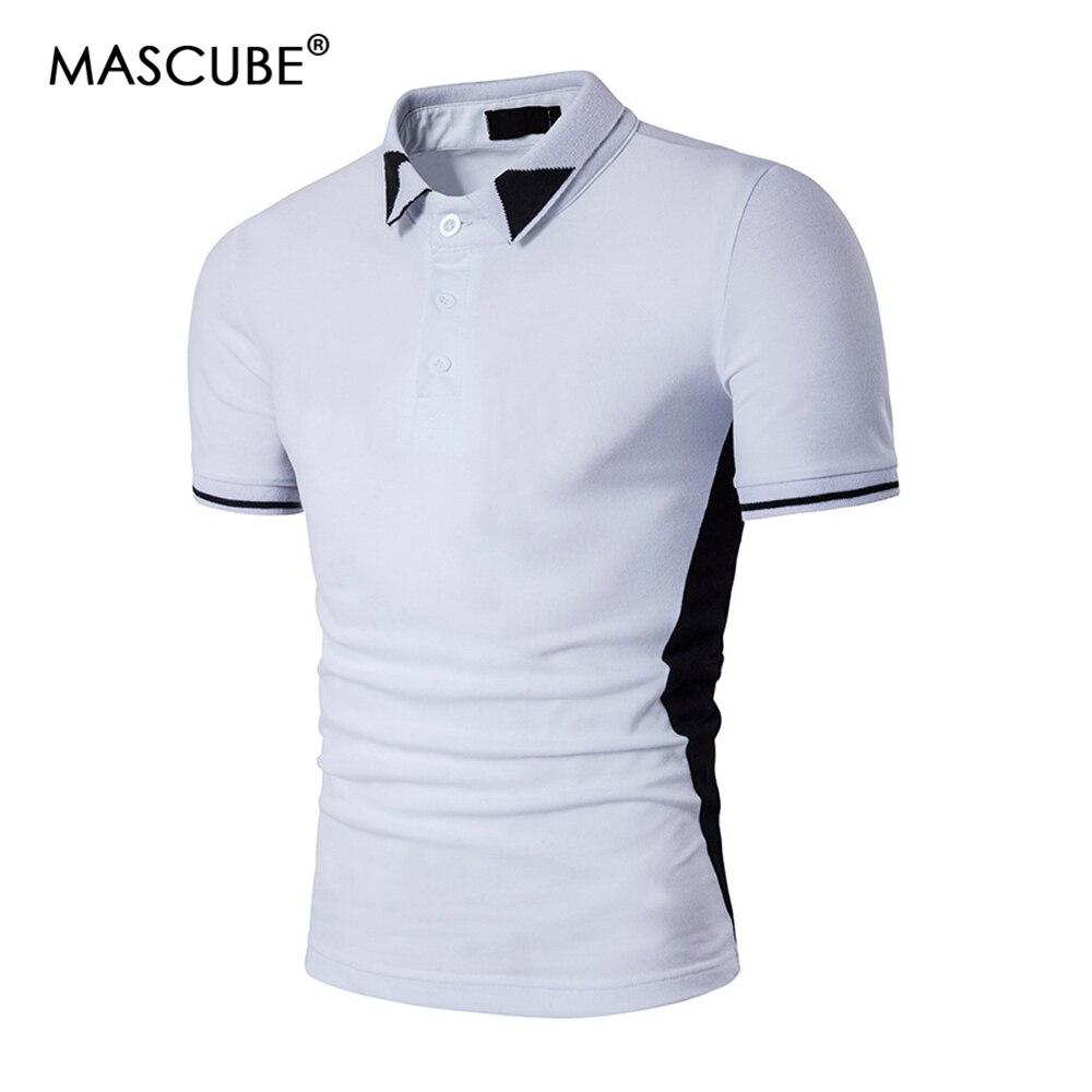 9dc60c46de7 MASCUBE модные Для мужчин рубашка поло бренды Повседневное короткий рукав  Для мужчин хлопковая рубашка-поло