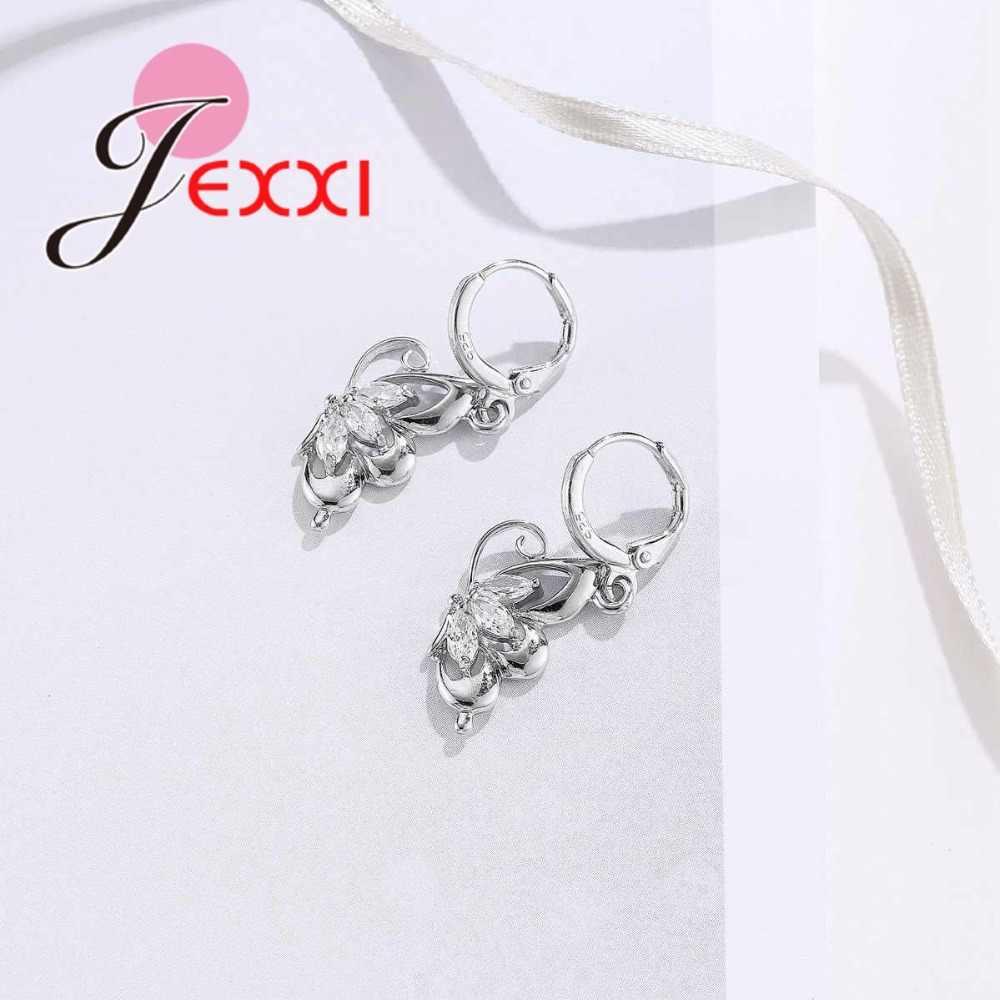 925 Sterling Silver Jewelry Sets for Women Wedding Necklace Pendant Hoop Earrings Elegant Cubic Zirconia Butterfly