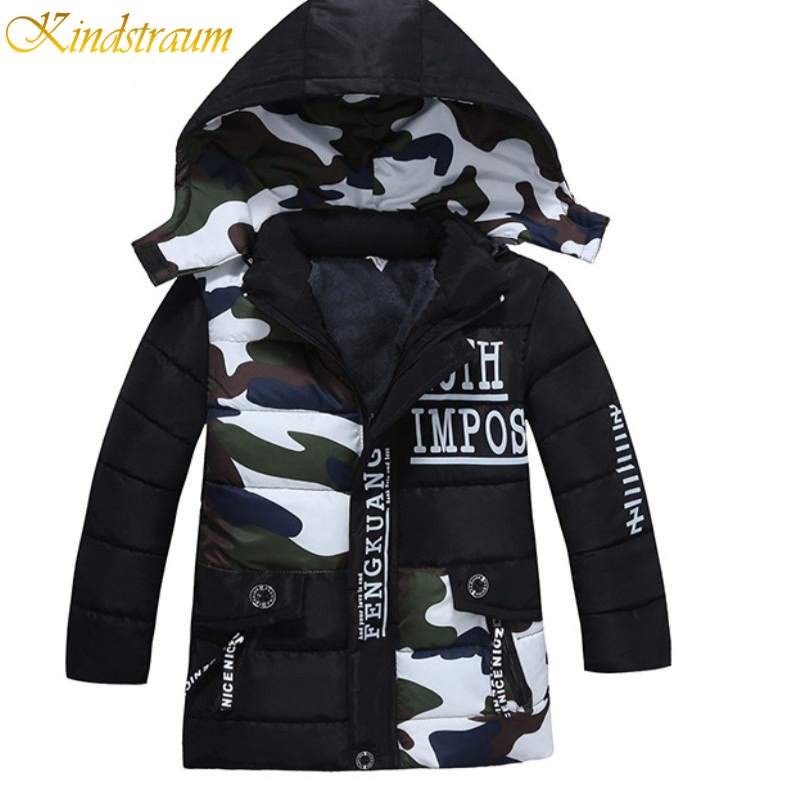 Kindstraum 2017 New Arrival Kid Cotton Warm Coat Children Boys Camouflage Fashion Thicken Hooded Outerwear Jackets Winter ,NC026