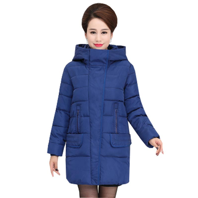 ФОТО middle-aged women cotton-padded coat 2016 new autumn winter hooded solid thick warm female jacket mother clothing kp1103