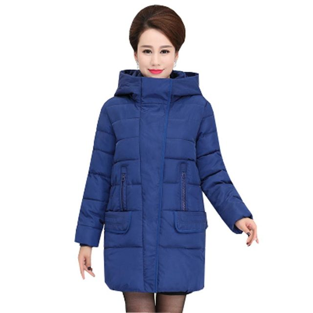 middle-aged women down cotton-padded coat 2016 new autumn winter hooded solid thick warm female jacket mother clothing kp1103
