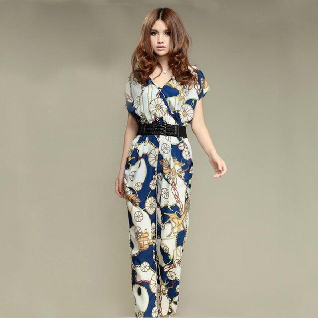 d260761bfdcf94 Plus size pants print jumpsuit trousers casual trousers with belt 2013  floral jumpsuit women