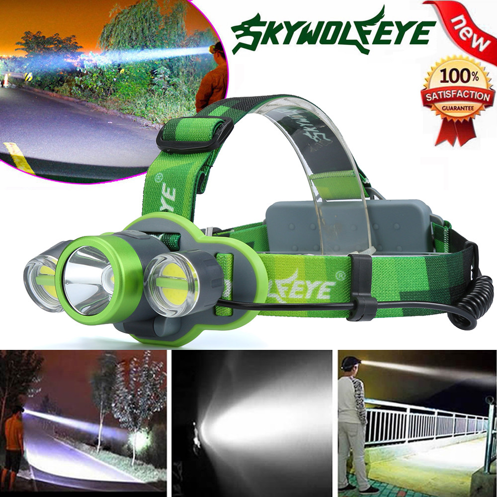 High Quality 15000LM XM-L T6+2X COB LED Rechargeable 18650 Headlamp Headlight Light Torch