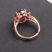 Кольцо с кристаллами 925 Серебряное кольцо с натуральным аметистом женское открытие