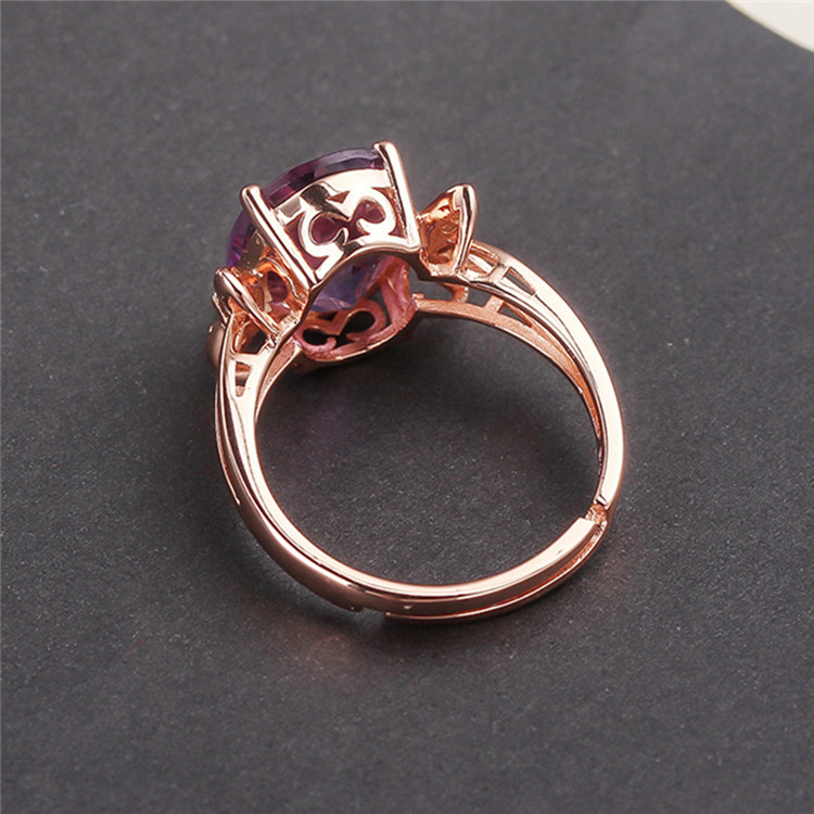 Crystal Ring 925 Silver Natural Amethyst Ring Female OpeningCrystal Ring 925 Silver Natural Amethyst Ring Female Opening