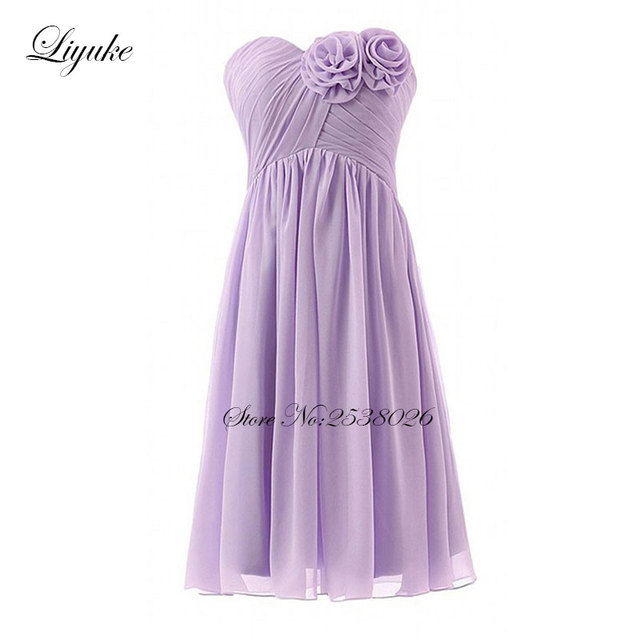 Liyuke Pleat Lavender Prom Dress A Line Strapless Party Dress Knee ...