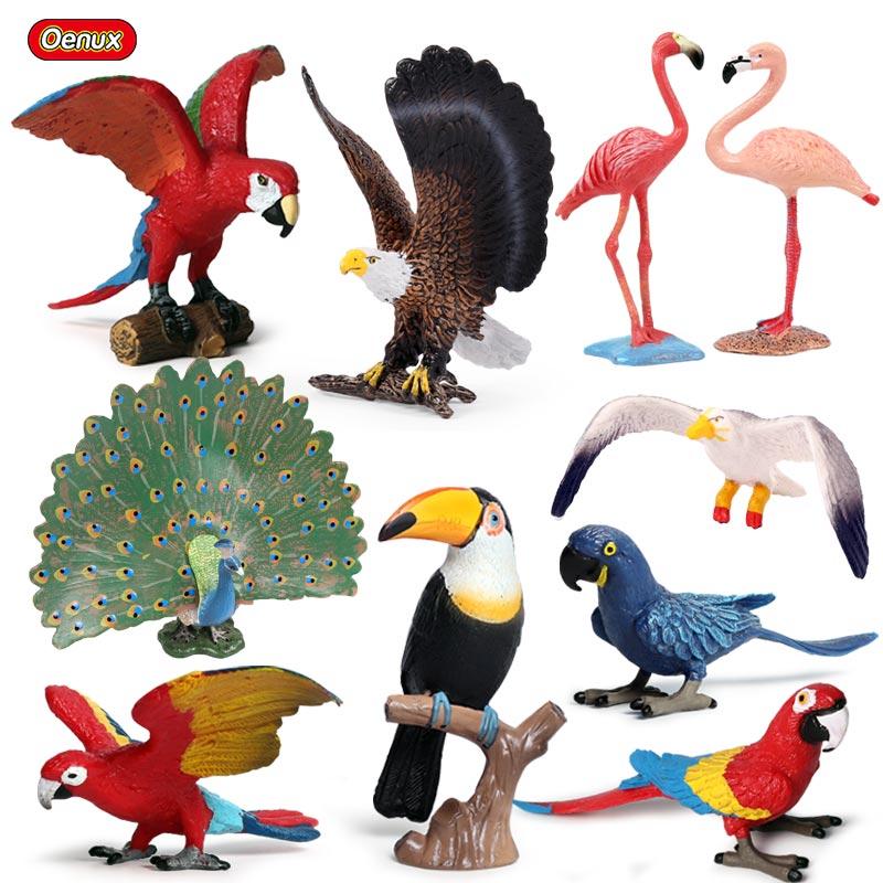 Oenux оригинальная имитация попугая фламинго, тукан, павлин, фигурки, модель, птица, животные, миниатюрная фигурка, игрушка для детей, подарок