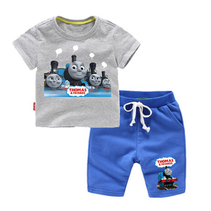 Image 3 - Thomas and Friends 2019 Summer Fashion Casual Short Sleeve O neck  New  clothesThomas Short Sleeve Cotton T Shirt + Pants  Suit