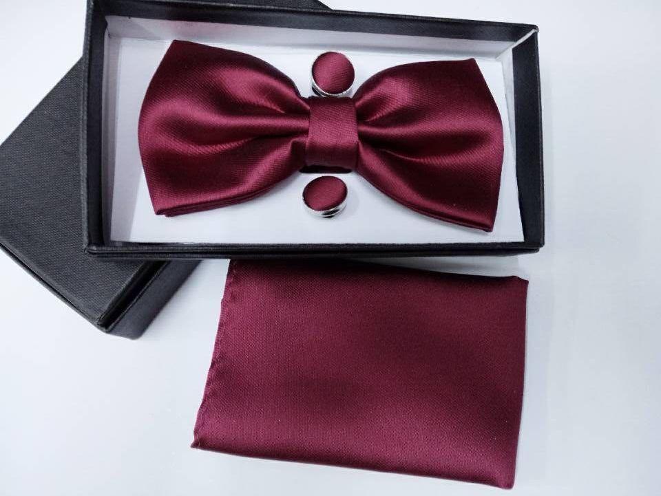 20 színű férfi szilárd királyi kék ted bowtie zsebkendőt Mandzsettagombok 3 készletek doboz