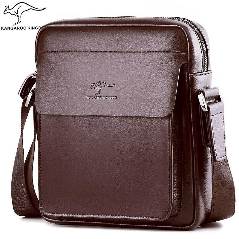 Кенгуру Королевство модные роскошные для мужчин сумка разделение кожа бизнес мужской crossbody курьерские Сумки бренд