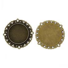 DoreenBeads Metal Enfeites Apreciação Rodada Antique Bronze Configurações Cabochão (Fit 20mm de Diâmetro) 3.1cm x 3.1cm,30 PCs de yiwu