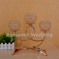 Free shipment 10PCS/lots 5 arms modern gold crystal metal candelabra centerpiece for Wedding decoration event party decoration