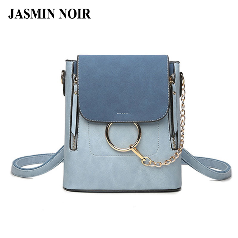 Summer Brand Designer Women Backpack Dual Function College Female Chain large capacity Lady Pu Leather Ring