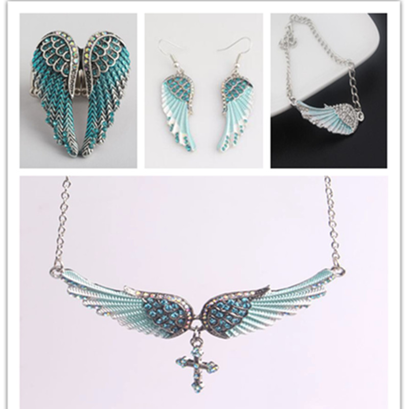 Сребрни ланац кристални анђео крило серије огрлица жене религиозне кршћанске огрлице и привјесци Поклони за бициклисте