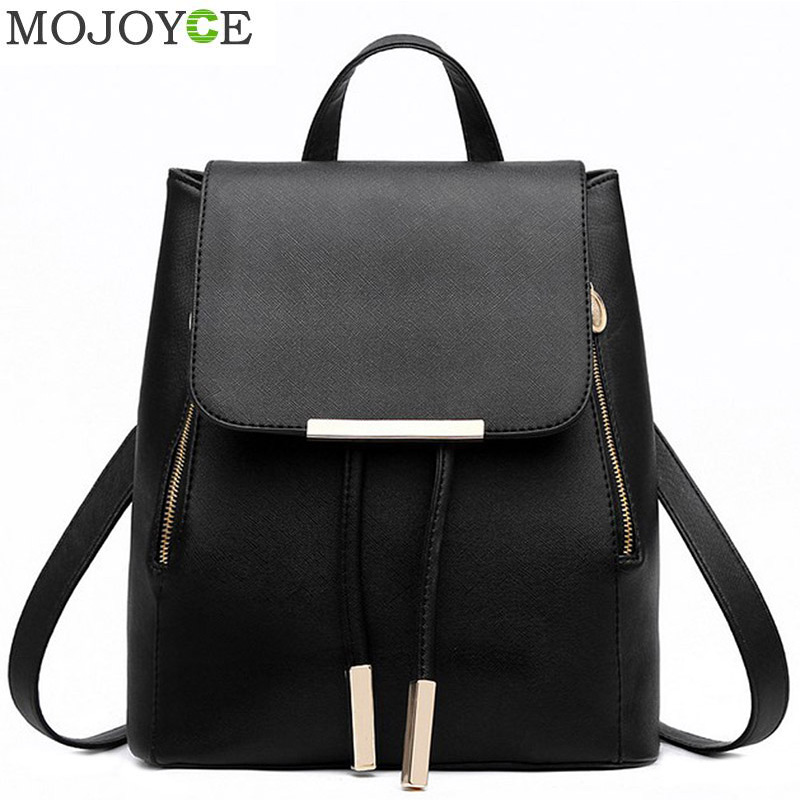 Black School Supplies Ryggsekk Kvinne PU Leather Ryggsekk Japansk Street Bag Women's School Bag for ungdoms jenter ryggsekker