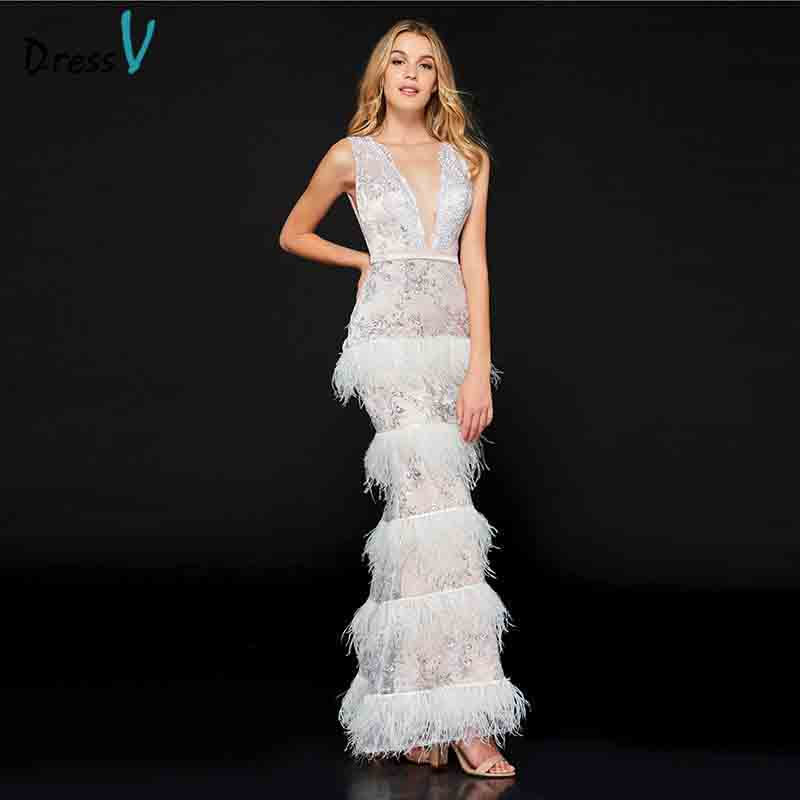 Dressv Elegant Sleeveless V Neck Lace   Evening     Dress   Multi Layers Feather Floor Length Custom Prom Party White   Evening     Dress