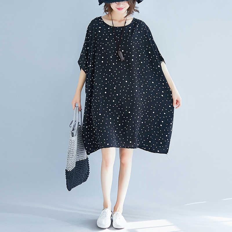 2019 الصيف نمط المرأة تونك من كبير حجم عارضة المتضخم و زائد حجم النساء الملابس البولكا نقطة اللباس Vestidos j132