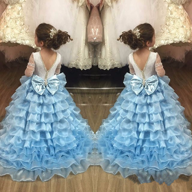 2017 Sky Blue Open Back for Little Girls Birthday Dress With Long Train Ruffles Tiered Crystals Flower Girl Dress Pageant Gown
