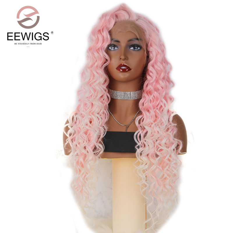 EEWIGS Long Curly Ombre Red Wigs Synthetic Lace Front Wig Dark Red Wigs Natural Hair Frontal Free Parting For Women