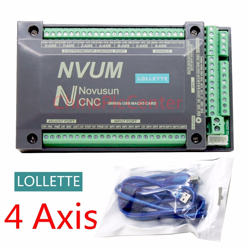 Nvum 4 axis cnc controller mach3 usb interface board card for Stepper motor controller software freeware