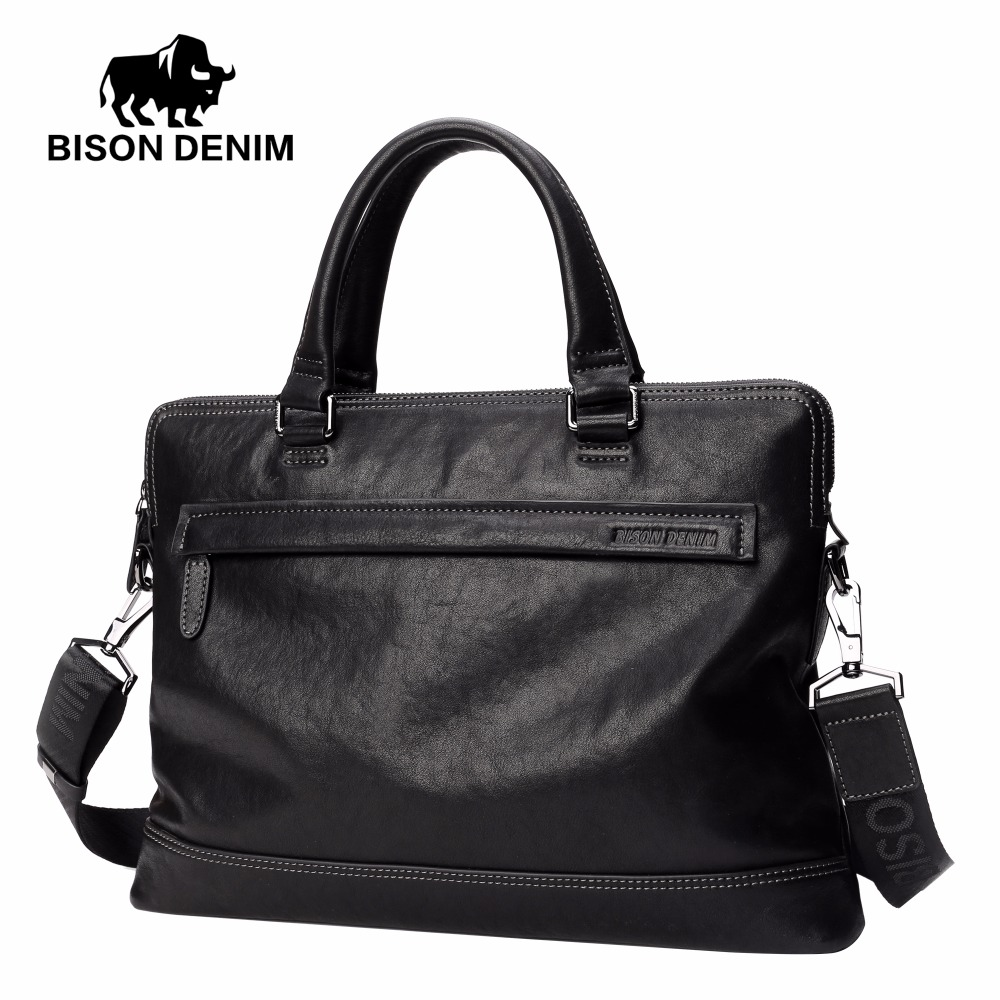BISON DENIM luxury genuine leather bag brand handbag shoulder bags men briefcase business laptop bags