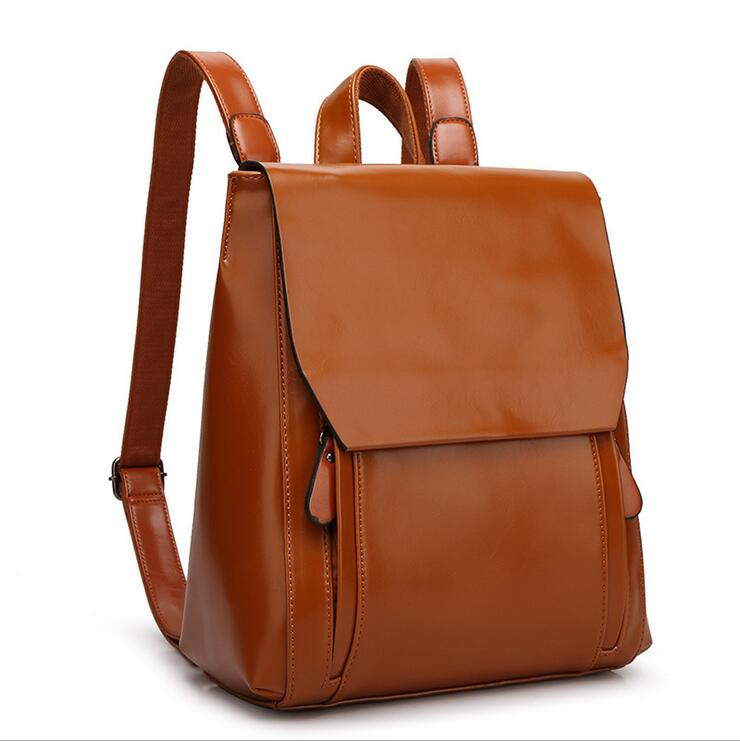 Women/'s Genuine Leather Brown Backpack Satchel Rucksack Shoulder School Bag New