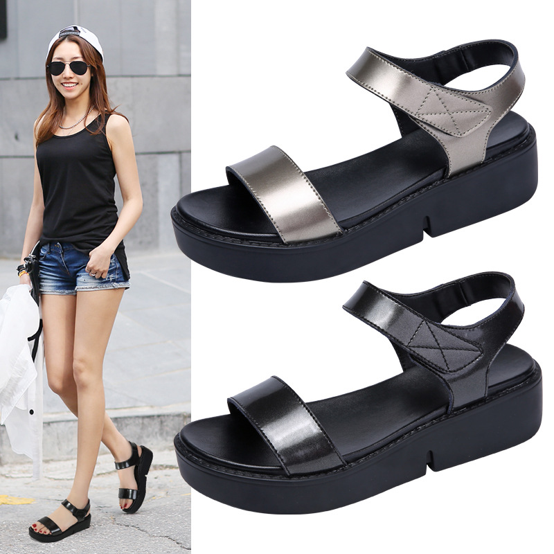 4171G new women's sandals thick-soled sandals women's leather increased ladies sandals cross-border 3