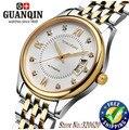 Relojes de los hombres guanqin original gq80016-1a zafiro resistente al agua 200 m de lujo de acero inoxidable reloj automático reloj de los hombres