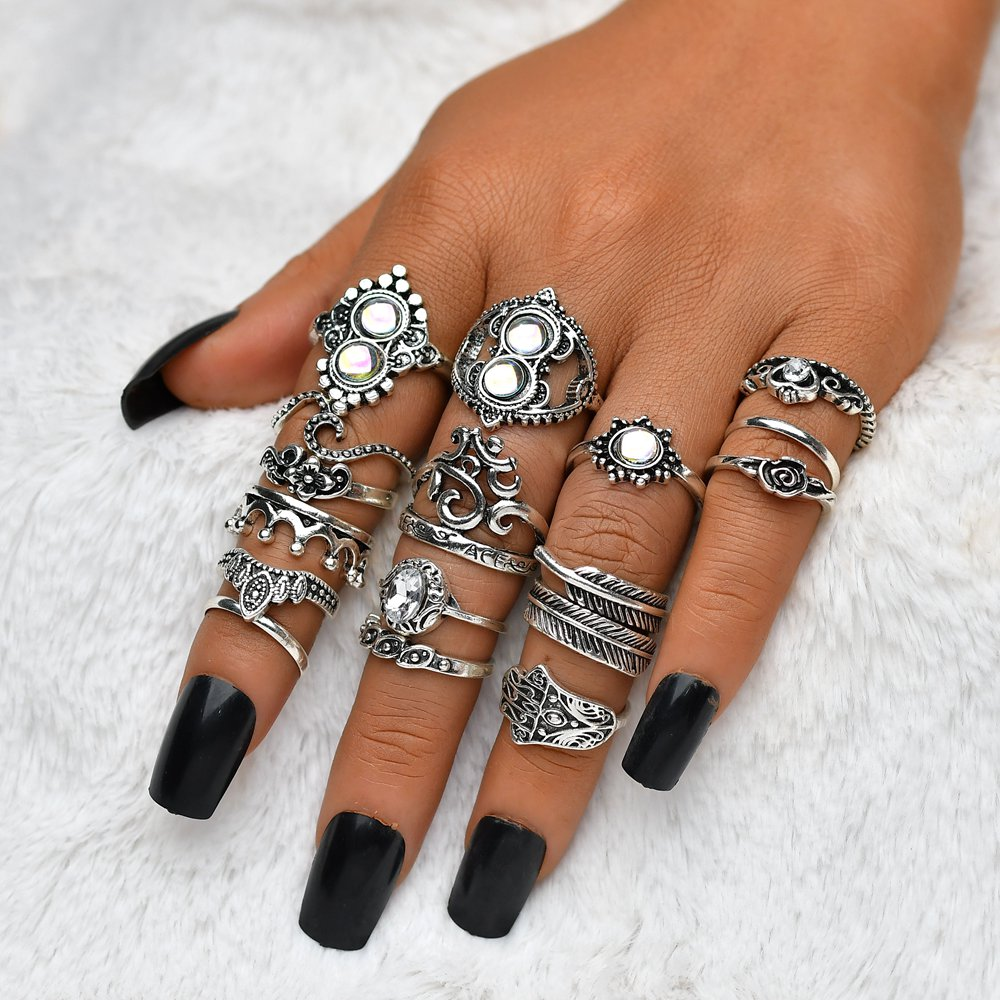 Terreau Kathy Vintage Stone Opal 16PCS/Rings Set Bohemian Geometric Antique Silver Color Knuckle Shield Ring Set For Women