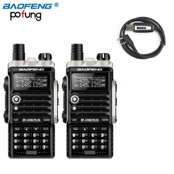 2 Pcs Baofeng BF-UVB2 Plus 8 W Haute Puissance DC7.4V 4800 mAh Li-ion Batterie Baofeng Two Way Radio + USB Câble de programmation