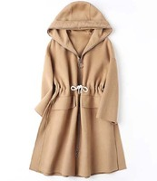 Clearance new 2018 women woolen cashmere coat with a hood hat lady female winter clothing khaki brown green camel loose casual