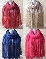 Para mujer bufandas de moda 2016, pañuelo de encaje, hijab llano, hijab musulmán, bandana, chales y bufandas, silenciador musulmán, wrap, chal de algodón
