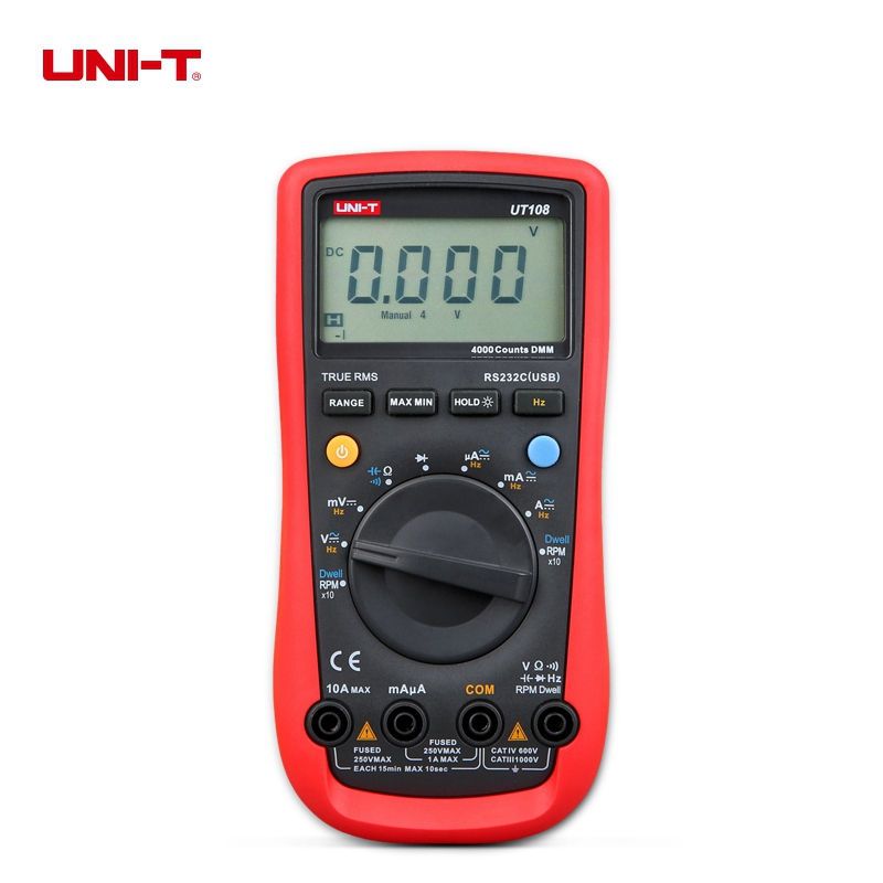 UNI-T UT108 Handheld Automotive Multi-Purpose Meter Auto Range 3999 Count USB Interface цена