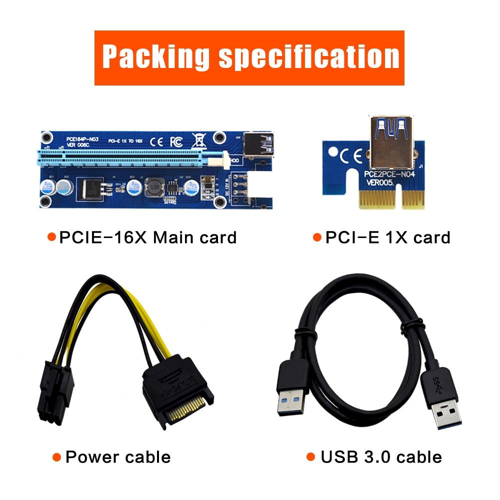 10pcs TISHRIC VER006C 1x to 16x PCI Express PCIE PCI-E Riser Card 006C Extender 60cm USB 3.0 Cable SATA to 6Pin BTC Mining Miner-5